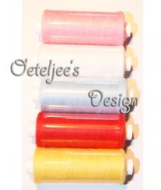 Pakketje van 5 kleuren rijggaren