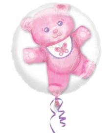 3D ballon geboorte meisje roze beertje met vlinder