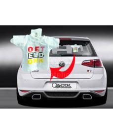 Oeteldonks auto shirtje met opdruk in de kleuren rood/wit/geel