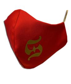 """Trendy mondkapje """"Sinterklaas"""" rood met gouden S print"""