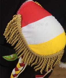 Epauletten luxe  rood wit geel Oeteldonk met goud lurex  franje