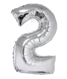 Folie ballon zilver cijfer 2 (100 cm)