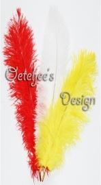 Floss veren (zwarte piet veren) rood, wit, geel