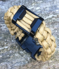 Paracord deluxe armband gold black met bottle opener