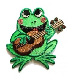 Geborduurde kikker applicatie met gitaar