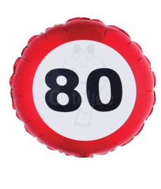 Folie ballon verkeersbord 80 jaar