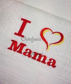 Badlaken wit met tekst I love Mama