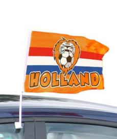 Autoraam vlag Holland met leeuw en voetbal