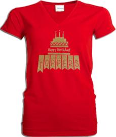 """Toppers  in Concert 2019 t-shirt dames rood V hals met gouden glitter taart """"happy birthday"""""""