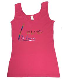 "Tanktop fuchsia roze maandag / gay pride met glitter rainbow tekst ""Love is love"""