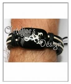 Armband - Leer met stoere afbeelding (verstelbaar)
