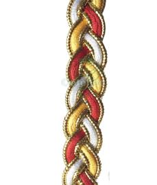 Gevlochten band rood wit geel goud Oeteldonk