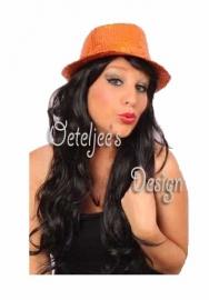 Oranje gangster hoedje (glitter)