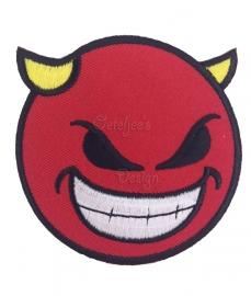 Geborduurde applicatie Duivel rood wit geel