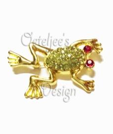 Broche gouden kikker met strass steentjes
