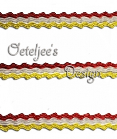 Galon zigzagband rood wit geel Oeteldonk