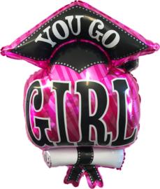 """Folie ballon geslaagd met tekst """"You go girl"""""""