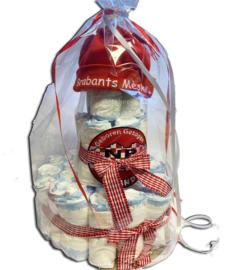 Geboorte luiertaart Brabants Mèske rood wit