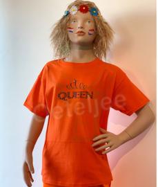 Oranje Koningsdag shirt meisje opdruk Queen