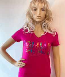 Party t-shirt dames pink Party hard multicolor