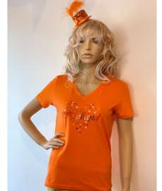 T-shirt Koningsdag dames oranje met hartjes Holland opdruk