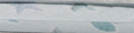 """Biasband lichtblauw """"strand"""" 36 mm gevouwen en ongevouwen"""