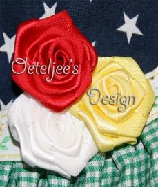 Set 3 satijnen roosjes rood wit geel Oeteldonk