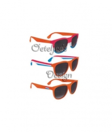 Blues brother bril oranje, rood wit blauw