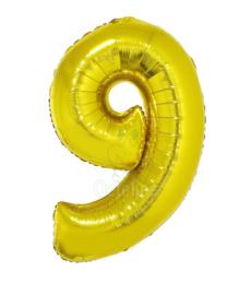 Folie ballon goud cijfer 9 (100 cm)