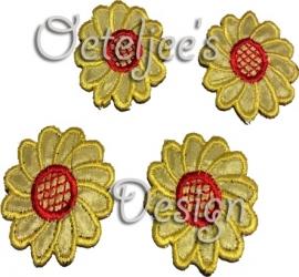 Bloemetjes applicatie rood/geel