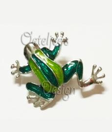 Broche kikker zilver met groen