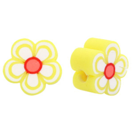 Polymeer kraal rood wit gele bloem