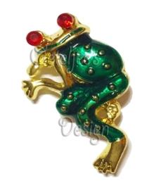 Broche groen met gouden kikker staand