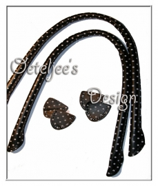 Tashengsel schoudertas leatherlook zwart stip
