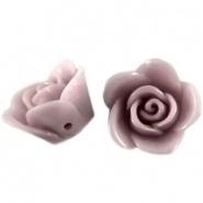 Kraal roos 12 mm Vintage rose (oud roze)