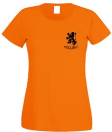 EK voetbal t-shirt dames oranje korte mouw leeuw en tekst holland