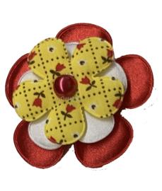 Corsage bloem Oeteldonkse kleuren rood wit geel en tulpjes