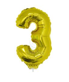 Folie ballon goud cijfer 3 (41 cm)