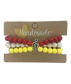 Armband Oeteldonk 3 delig rood wit geel met muzieknoot bedel