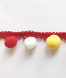 Bolletjesband rood wit geel Oeteldonk