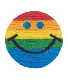 Geborduurde opstrijkbare applicatie regenboog smiley