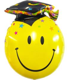 Folie ballon smiley geslaagd met hoed