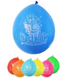 Ballonnen hartelijk gefeliciteerd (8 stuks)