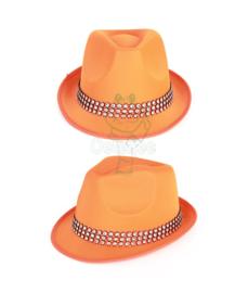 Oranje hoedje met strassband