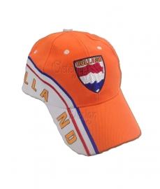Baseball cap oranje rood wit blauw opdruk Holland
