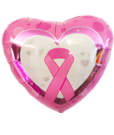 Folie ballon Pink Ribbon roze hart