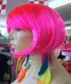 Pruik pink Sensation bobline