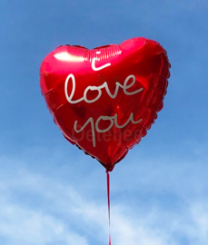 Folie ballon hart met tekst I love you