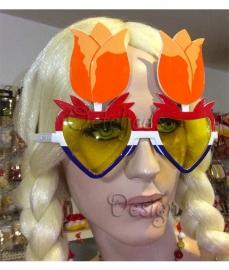 Party zonnebril oranje tulp rood wit blauw