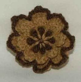 Applicaties - Gehaakt bloemetje bruin-beige